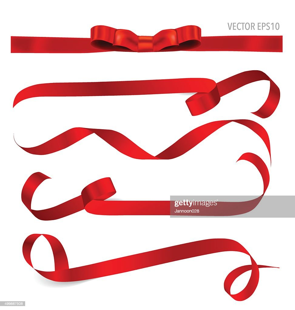 Shiny red ribbon. Vector illustration.