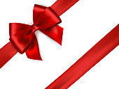 Shiny red satin ribbon on white background.
