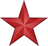 shiny red star with rays