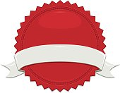 Shiny Red Sticker, Off-White, Beige Ribbon Set