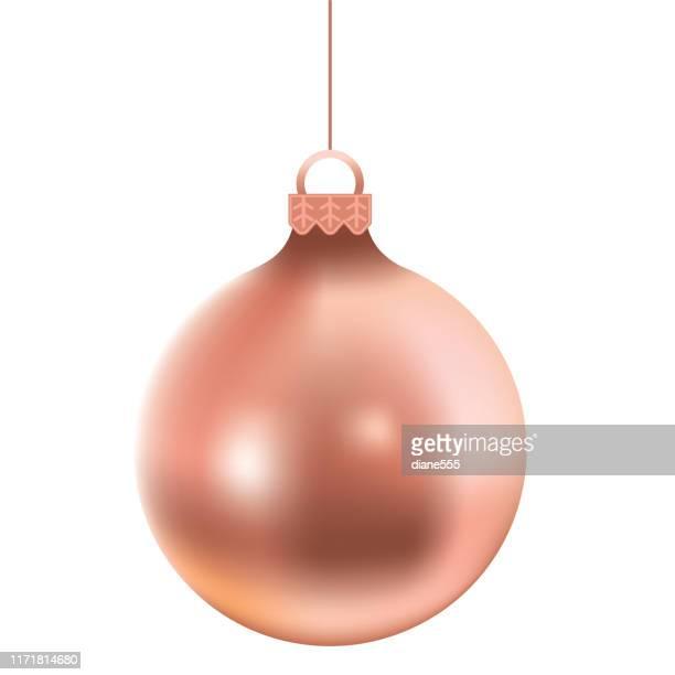 shiny rose gold christmas ornaments - rose gold stock illustrations