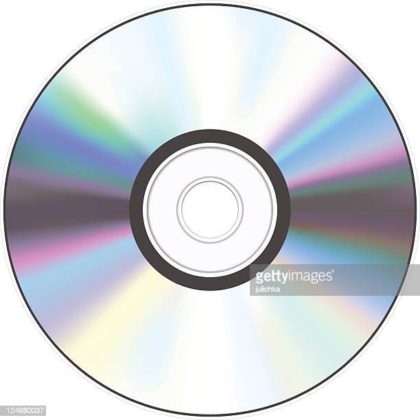 a shiny silver cd with a hole in the middle - dvd stock illustrations