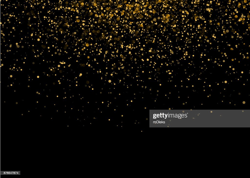 Shiny Star Burst Light with Gold Luxury Sparkles. Magic Golden Light Effect. Vector Illustration on Black Background