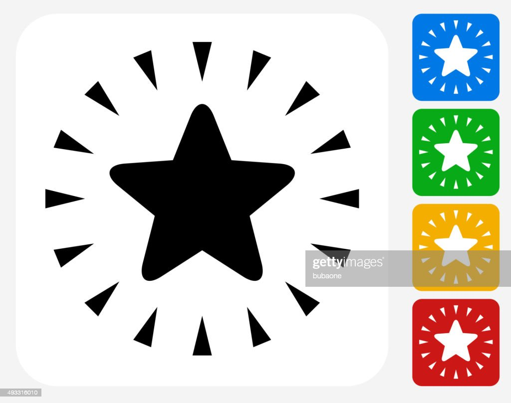 Shiny Star Icon Flat Graphic Design