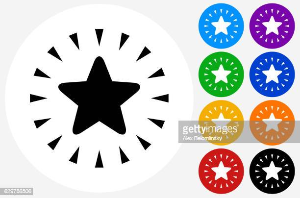 Shiny Star Icon on Flat Color Circle Buttons