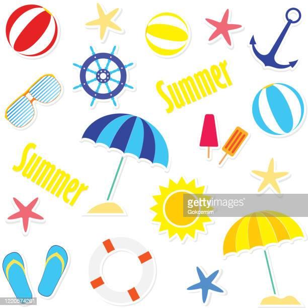 glänzende sommertag-kollektionen. küsten-design-element-set. sommer-clipart-sammlung. - sammelalbum stock-grafiken, -clipart, -cartoons und -symbole