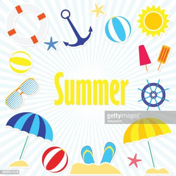 ilustraciones, imágenes clip art, dibujos animados e iconos de stock de brillante día de verano colecciones - pelota de playa