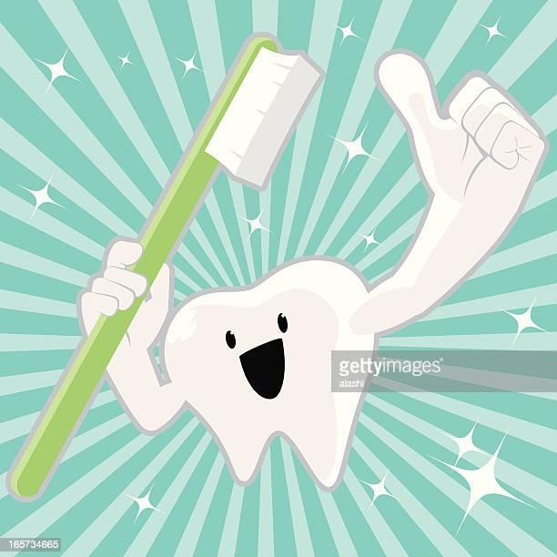 ilustraciones, imágenes clip art, dibujos animados e iconos de stock de brillante carácter cepillo de dientes retención y gesticular pulgares arriba - cepillar