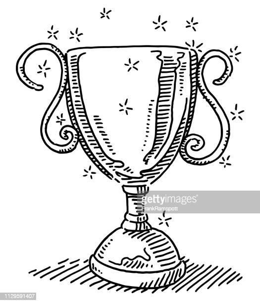 Glänzende Trophäe Erfolg Symbol Zeichnung