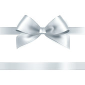 Shiny white satin ribbon
