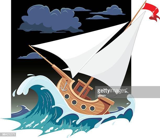 illustrations, cliparts, dessins animés et icônes de ship une vague - tempête