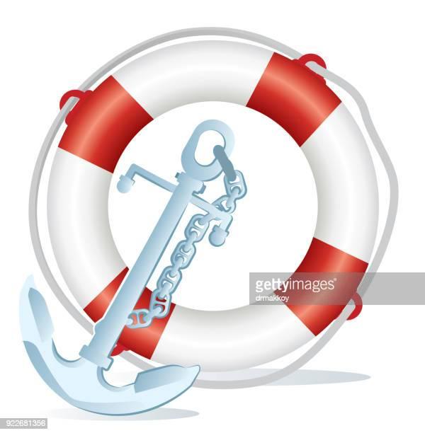 Ship anchor anda Lifebuoy
