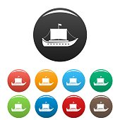 Ship ancient icons set color vector
