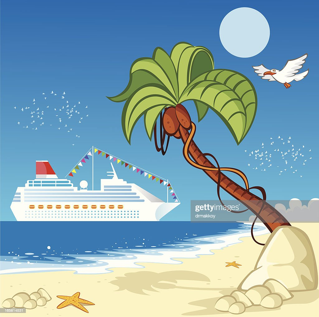Ship and beach : stock illustration