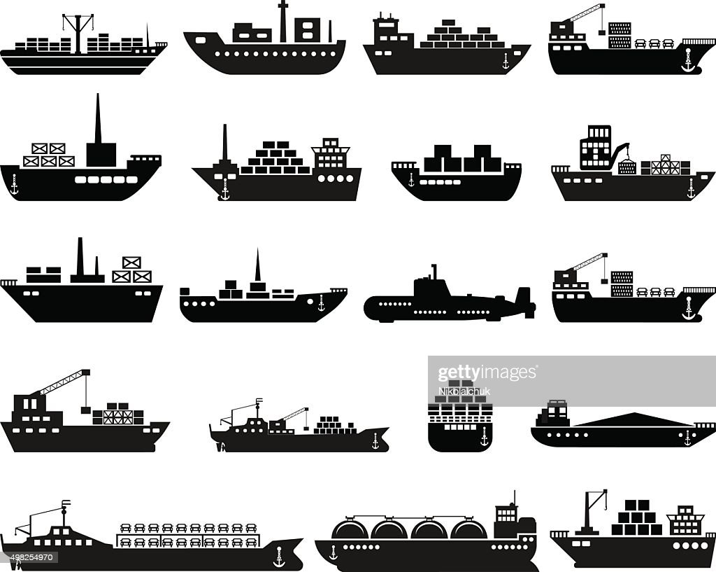 Ship and boat icon set.