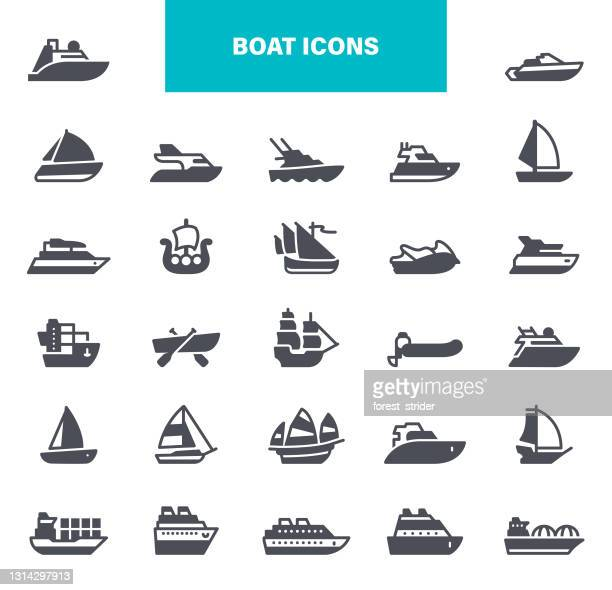 ship and boat icons. contains such icons as contains such icons as yacht, cruise, cargo shipping, ferry, schooner, water scooter - passenger craft stock illustrations