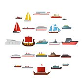 Ship and boats icons set, flat style