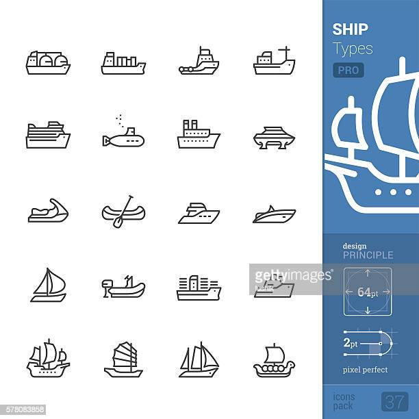 Ship and Vessel types, Outline vector icons - PRO pack