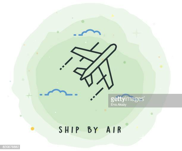 ship by air icon with watercolor patch - air travel stock illustrations, clip art, cartoons, & icons