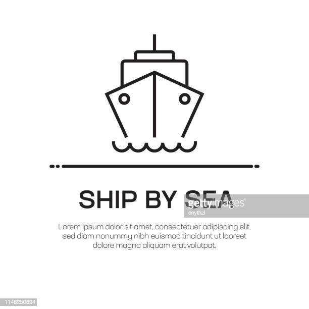 ship by sea vector line icon - simple thin line icon, premium quality design element - ship stock illustrations
