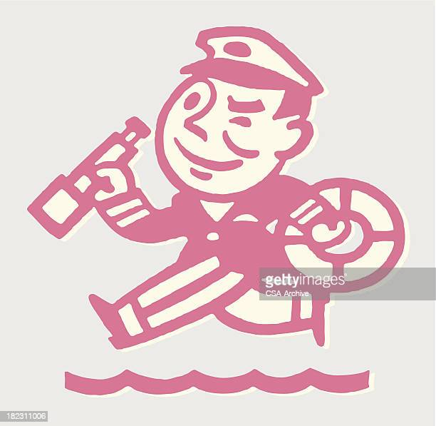 ship captain with telescope and life preserver - team captain stock illustrations