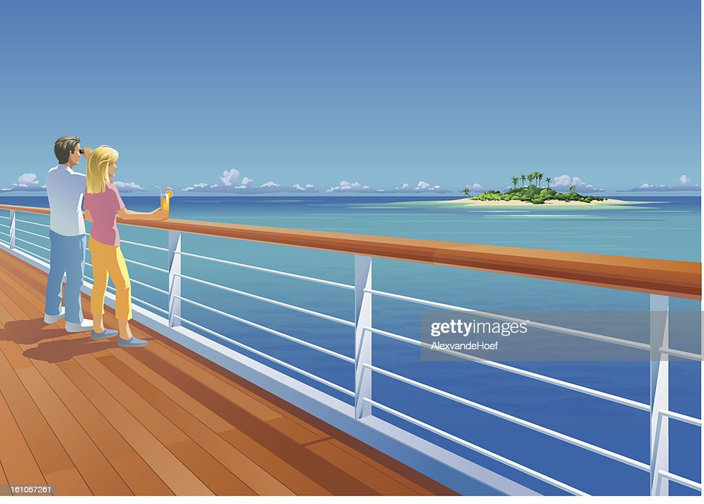 Ship Deck Couple and Tropical Island : Vector Art