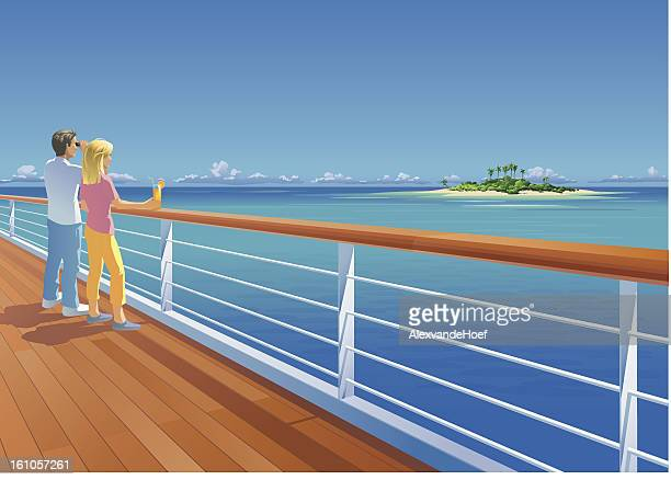 Ship Deck Couple and Tropical Island