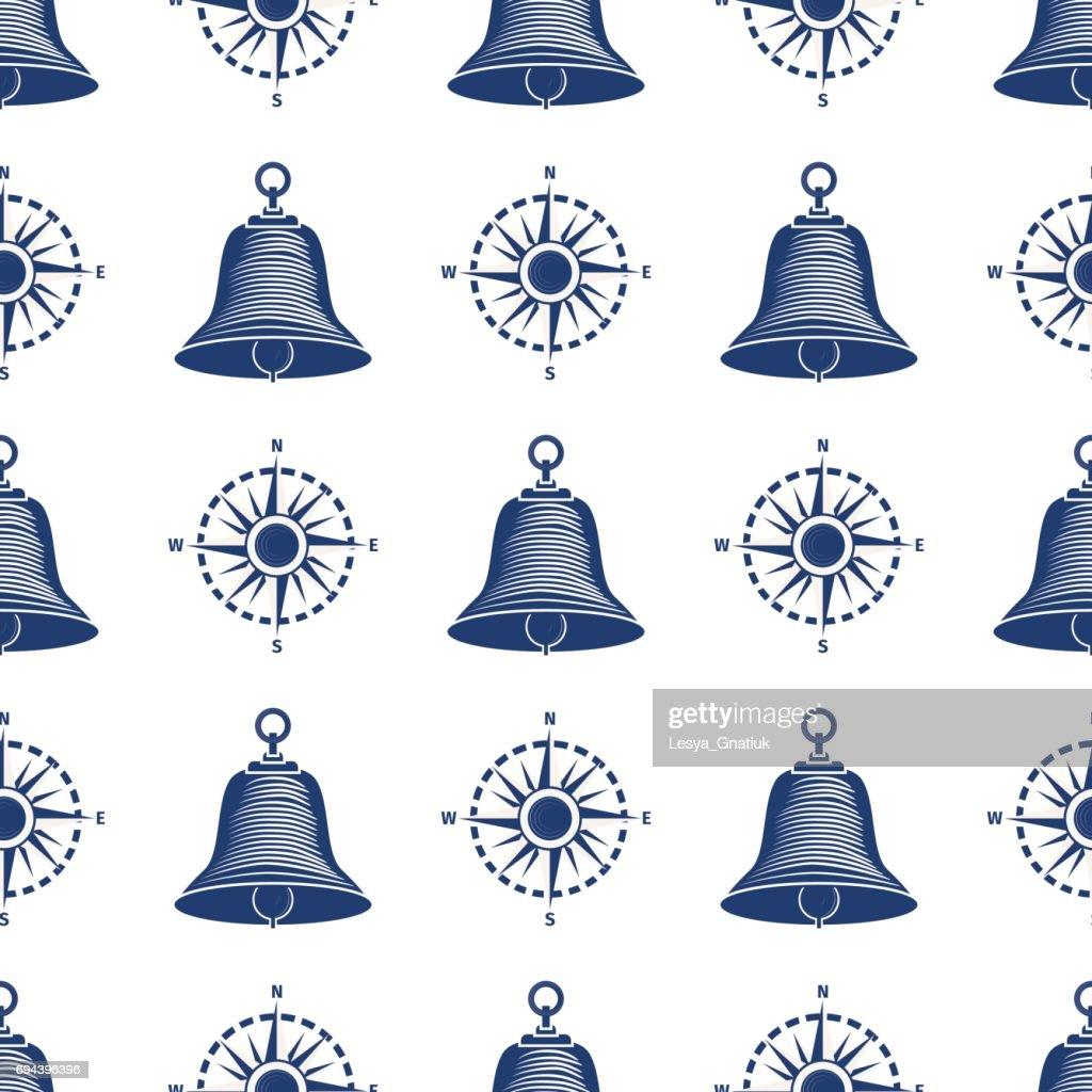 Ship helm seamless pattern marine boat wheel.