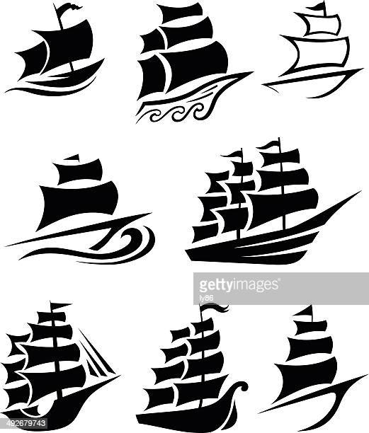 ship icons - brigantine stock illustrations, clip art, cartoons, & icons