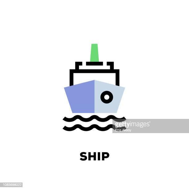 Schip lijn pictogram