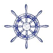 Ship Steering Wheel Hand Draw Sketch. Vector