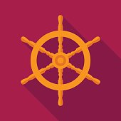 ship steering wheel icon with long shadow. flat illustration