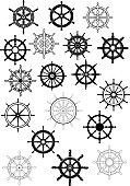 Ship steering wheels in retro style