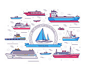 Ship thin line icons background