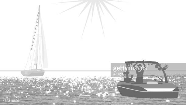 ship - motorboating stock illustrations, clip art, cartoons, & icons