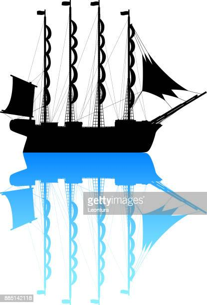 ship - brigantine stock illustrations, clip art, cartoons, & icons