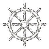 Ship wheel isolated on white background.