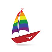 A ship with sails and a red board. Color lgbt