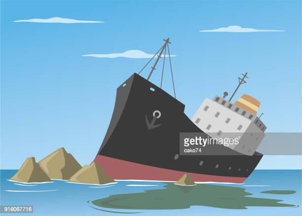 ship wreck vector illustration - water pollution stock illustrations