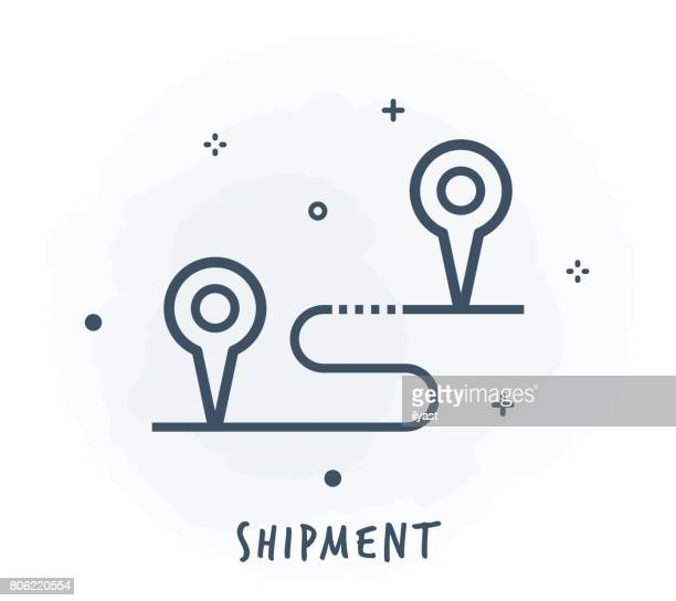 shipment line icon - thoroughfare stock illustrations, clip art, cartoons, & icons