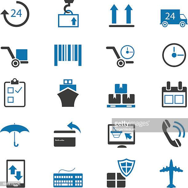 shipping and delivery icons set - receiving stock illustrations, clip art, cartoons, & icons