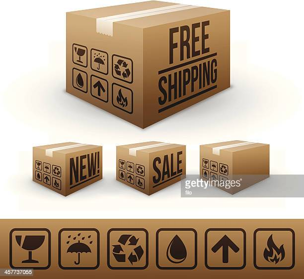 shipping and e-commerce boxes - fragile sign stock illustrations