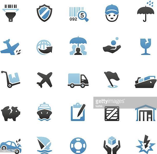 Conjunto de ícones de transporte marítimo e seguro