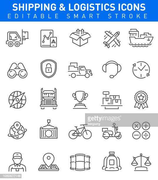 shipping and logistic icons. editable stroke - freight transportation stock illustrations