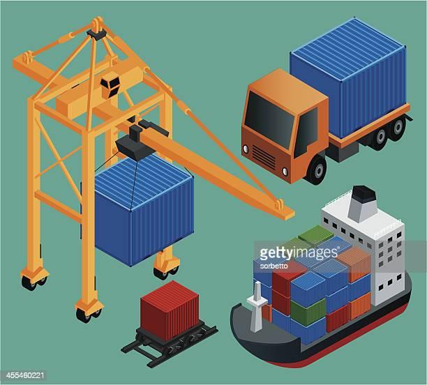 ilustraciones, imágenes clip art, dibujos animados e iconos de stock de la industria y la logística de envío - torre petrolera
