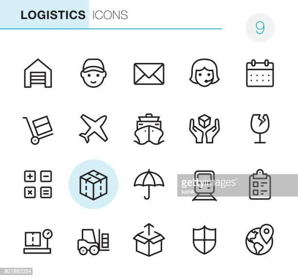 ilustrações, clipart, desenhos animados e ícones de transporte e logística - ícones pixel perfeito - fragilidade