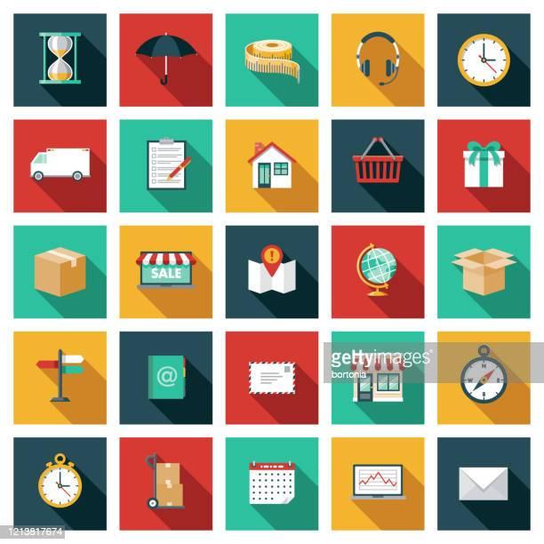 versand- und transportlogistik icon set - adressbuch stock-grafiken, -clipart, -cartoons und -symbole