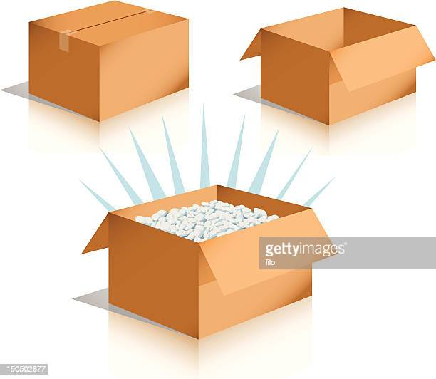 ilustrações, clipart, desenhos animados e ícones de caixas de [ vetor ] - embalagem cartonada