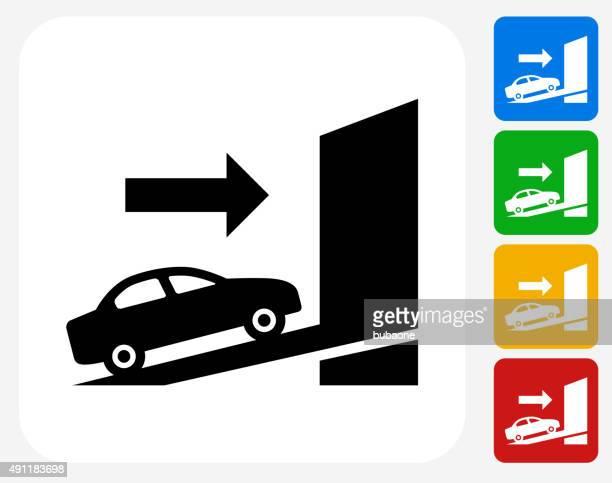 配送車のグラフィックデザインアイコンフラット - 荷積み場点のイラスト素材/クリップアート素材/マンガ素材/アイコン素材