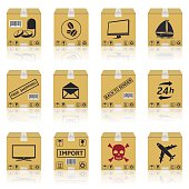 Shipping cardboard boxes icons